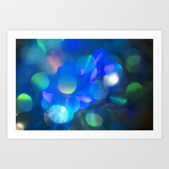 Bokeh in Blue Art Print