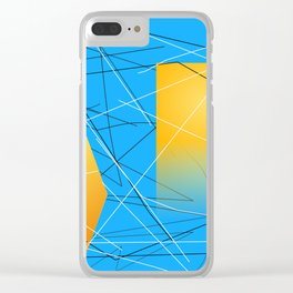 Blue Yellow Abstract Diamond Clear iPhone Case
