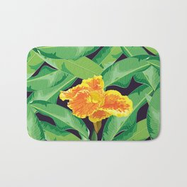 Yellow tropical flower Bath Mat