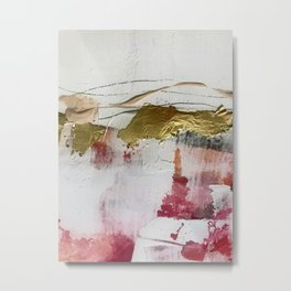Untranslated Stars: a minimal, abstract piece in gold, pink, and white by Alyssa Hamilton Art Metal Print