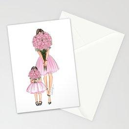 Mother's Day little girl dark hair fair skin Stationery Cards