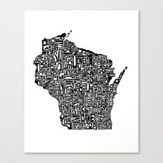 Typographic Wisconsin Canvas Print