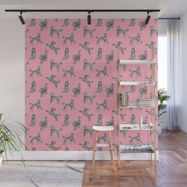 Gray Poodles Pattern (Pink Background) Wall Mural