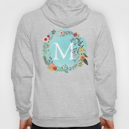 Personalized Monogram Initial Letter M Blue Watercolor Flower Wreath Artwork Hoody