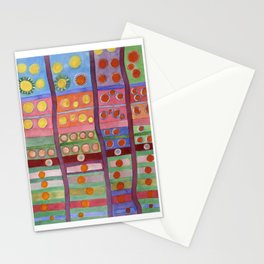 Colorful Grid Pattern with Numerous Circles Stationery Cards