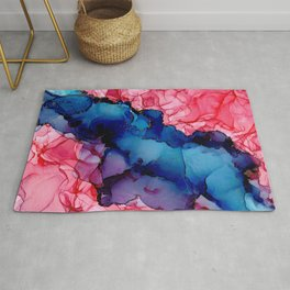 Water and Roses: Original Abstract Alcohol Ink Painting Rug