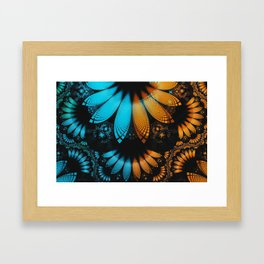 Shikoba Fractal -- Beautiful Leather, Feathers, and Turquoise Framed Art Print
