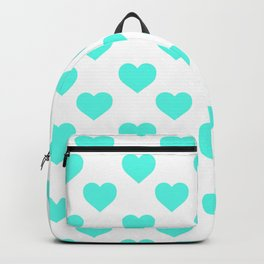 Hearts (Turquoise & White Pattern) Backpack
