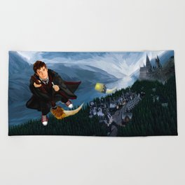 10th Doctor who lost in the wizard World Beach Towel