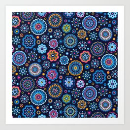 Space Flora - Dark Blue Art Print