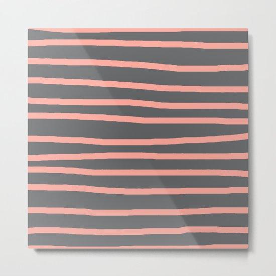 Simply Drawn Stripes Salmon Pink on Storm Gray Metal Print