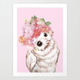 Snowy Owl with Flowers Crown Art Print