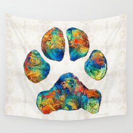 Colorful Dog Paw Print by Sharon Cummings Wall Tapestry