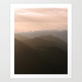 Alps Mountain Layers at Warm and Peaceful Sunrise – Landscape Photography Art Print