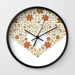 Floral heart with star anise Wall Clock