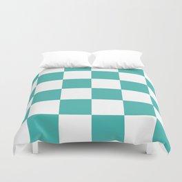 Large Checkered - White and Verdigris Duvet Cover