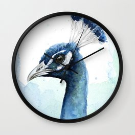 Peacock Watercolor Exotic Bird Animals Wall Clock