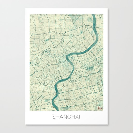Shanghai Map Blue Vintage Canvas Print