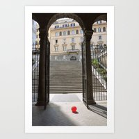 ballon Art Prints featuring Red Ballon by Danielle W