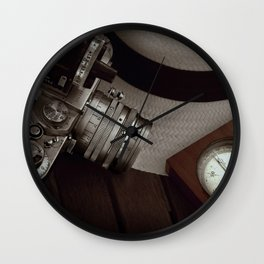 Leica and Panama hat Wall Clock