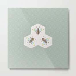 Hand drawing Bee on stylized honeycombs Metal Print