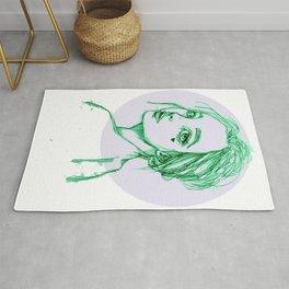Green Girl in a Grey Circle Rug