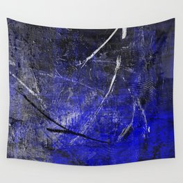 In The Dead Of Night - Textured Abstract In Blue, Black and White Wall Tapestry