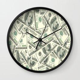 Money One Hunderd Dollar Bills Cash Millionaire Wall Clock