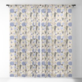 Black Greyhound Dogs on Vintage Floral Pattern - Beige Wood Theme Sheer Curtain