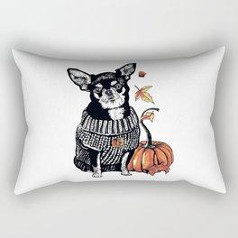Autumn Chihuahua dog with pumpkin Rectangular Pillow