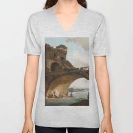 The Ponte Salario Oil painting by Hubert Robert Unisex V-Neck