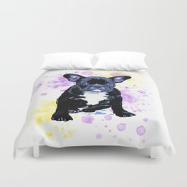 French Bulldog Watercolor Inky Duvet Cover