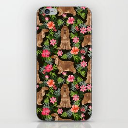 Cocker Spaniel hawaiian tropical print with dog breeds cocker spaniels iPhone Skin