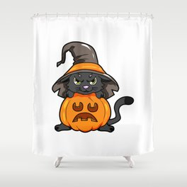 angry kitty Halloween Cat Witch present gift Shower Curtain