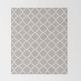 Classic Quatrefoil pattern, warm grey Throw Blanket