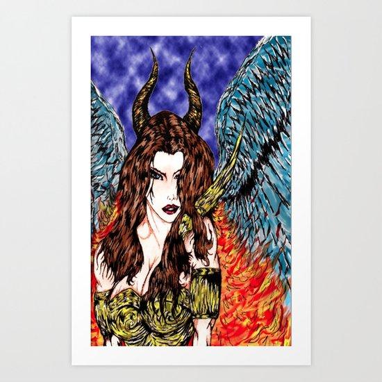 angel or demon in color Art Print