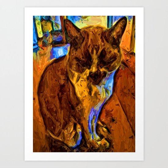 Orange Cat with some Blue Art Print