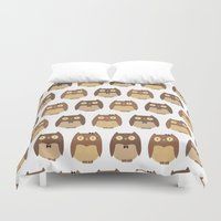 owls Duvet Covers featuring Owls by sheena hisiro