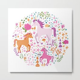 Unicorns Dancing in an Enchanted Garden Metal Print