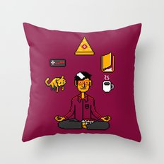 Meditation Games Coffee and Books Throw Pillow