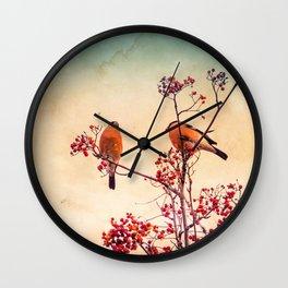 Bullfinch eat red rowan berries Wall Clock
