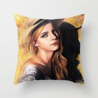emma watson Throw Pillows featuring EMMA WATSON by Laura Catrinella