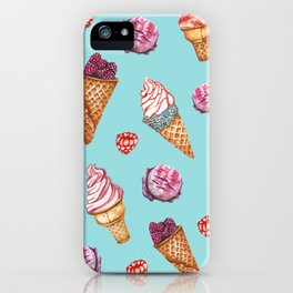 Pink and Blue ice cream pattern iPhone Case