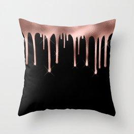 Black & Rose Gold Drip Throw Pillow