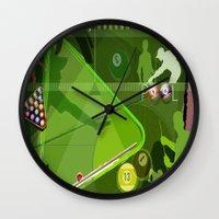 pool Wall Clocks featuring Pool by Robin Curtiss