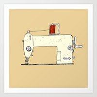 sewing Art Prints featuring Sewing machine by taichi_k