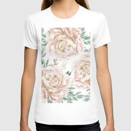 Pretty Blush Pink Roses Flower Garden T-shirt