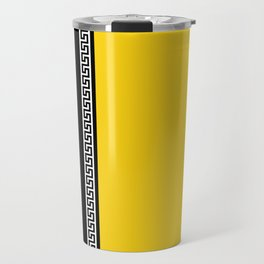 Greek Key 2 - Yellow and Black Travel Mug