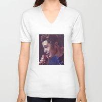 austin V-neck T-shirts featuring Austin Mahone by Kerri Dixon Art
