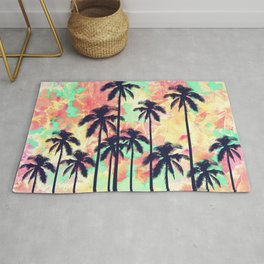 Colorful Neon Watercolor with Black Palm Trees Rug
